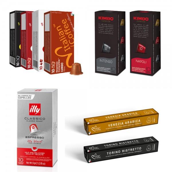 SAMPLER 100 pods - Italian Coffee®, Illy®, Kimbo® capsules compatible with Nespresso Original*