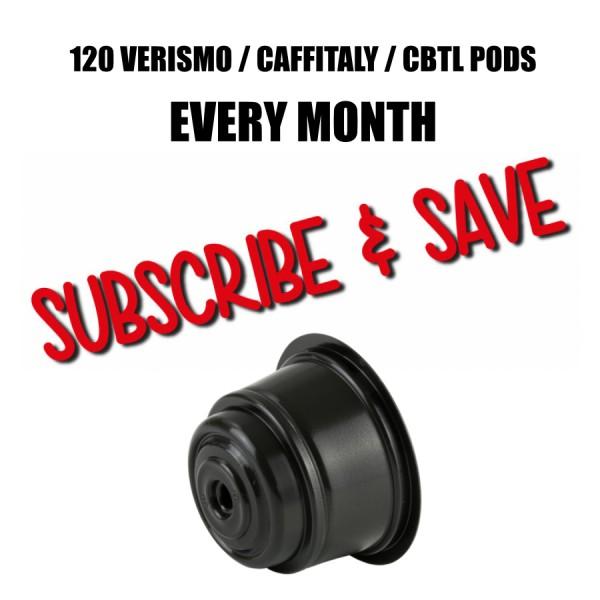 120  Verismo/Caffitaly/CBTL Pods Every Month